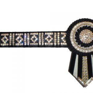 "EE67 - 15"" Black,White Diamond Bling Browband"