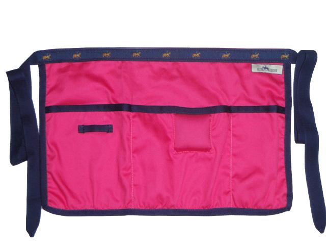 Plaiting Apron - Hot Pink with Navy trim/Horse Motif